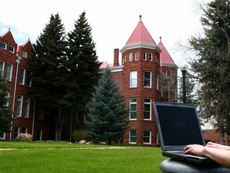 Person typing on a laptop while on the green grass. Pine trees and Old Main in the background.