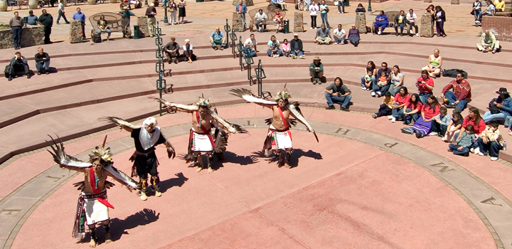 Hopi Eagle Dancers performing in Heritage Square in downtown Flagstaff