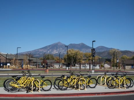 Yellow Bikes with the San Francisco Peaks in the background