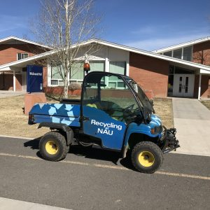 mini recycling truck on campus