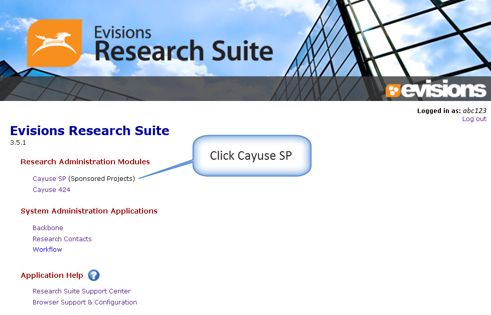 Evisions Research Suite - Home