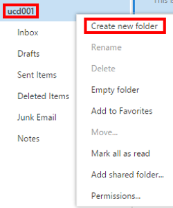 OWA 2016 - Email - Adding Folders - Create New