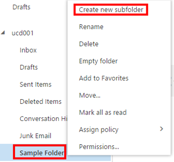 OWA 2016 - Email - Subfolder - Create New