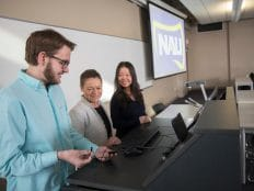 President Cheng receiving demo of classroom technology