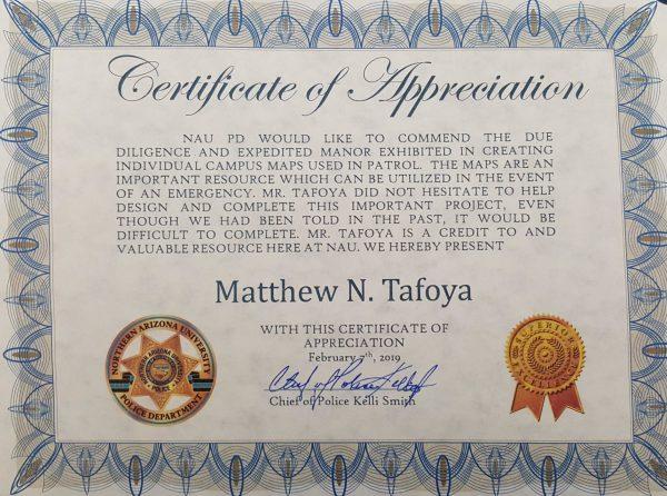 Matt Tafoya certificate