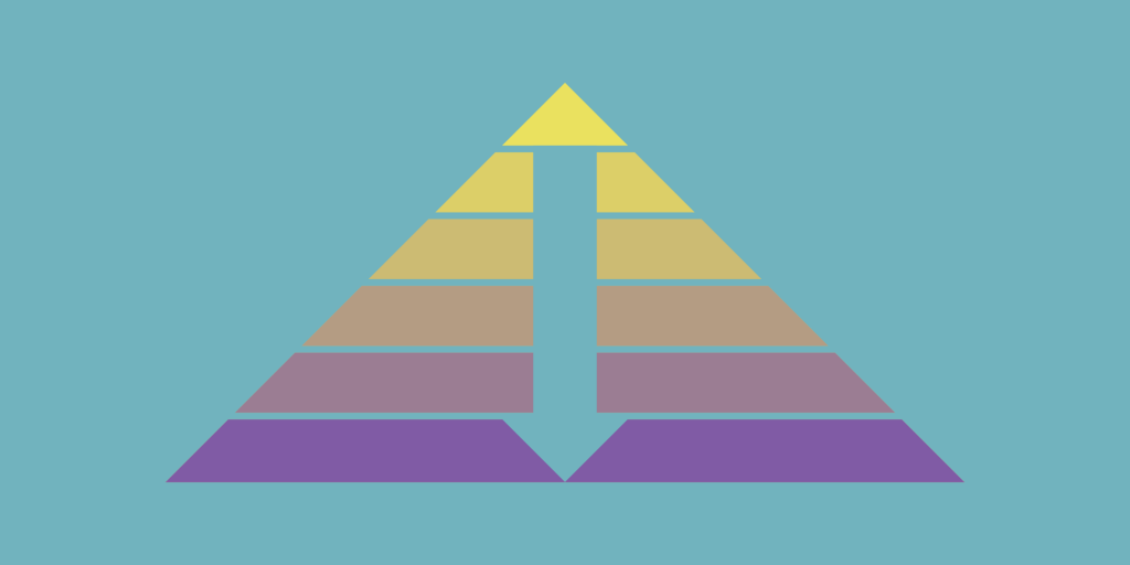 Multicolored triangle with an arrow pointing towards the bottom.