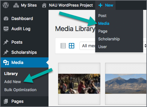 Arrows specifying the multiple ways to add new media within WordPress.