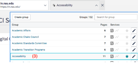 "Choosing a specific group to work on, if you have access to multiple groups. Click the dropdown titled ""Groups."""