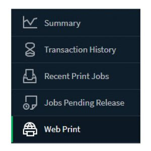 Web Print menu options