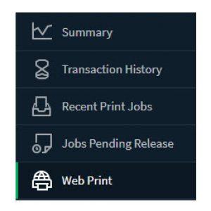 Web Print menu options