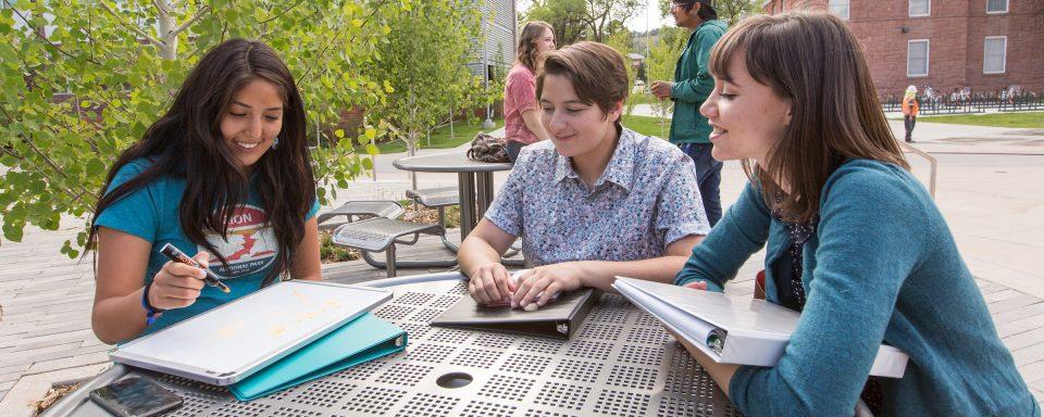 NAU students studying outside