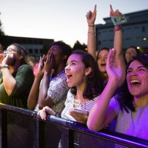 new nau students cheering at welcome week concert 2017