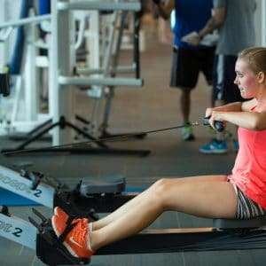 female student exercising
