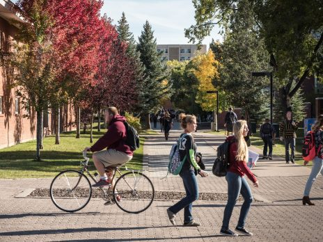 Students commuting to class