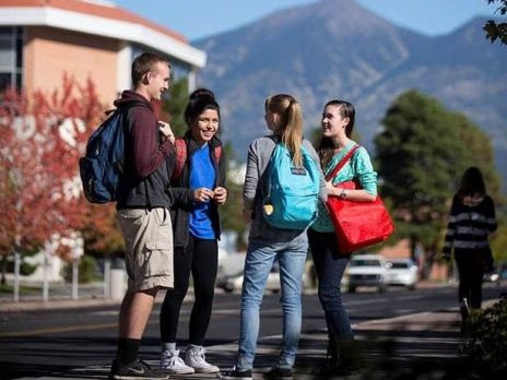 nau students on campus in flagstaff