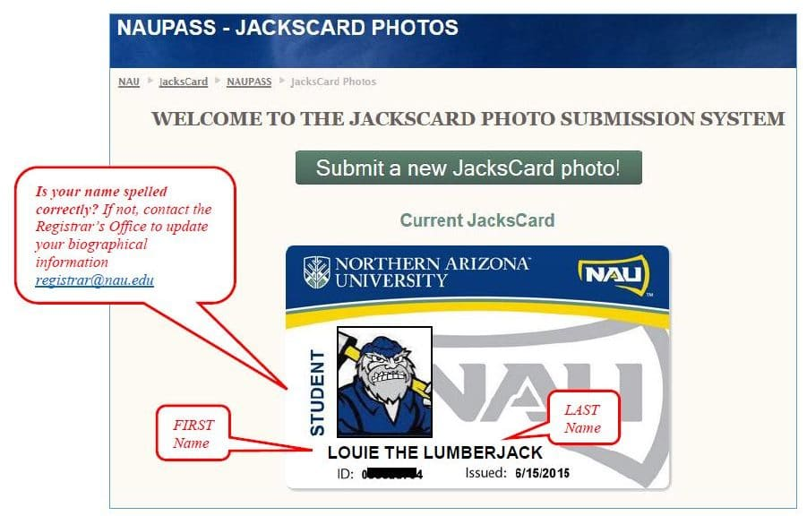 JacksCard photo submission system that shows an image of student's JacksCard on screen.