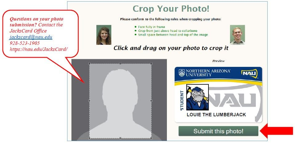 Crop your JacksCard photo before submitting.