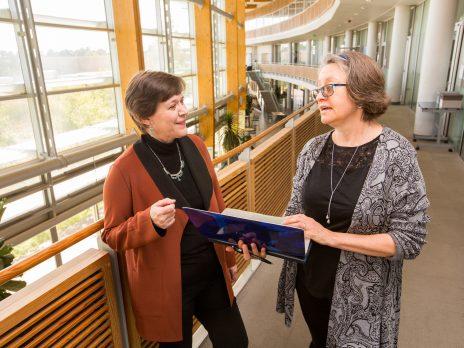 two professors talking in window filled room