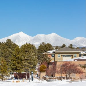 buildings and snowy mountain