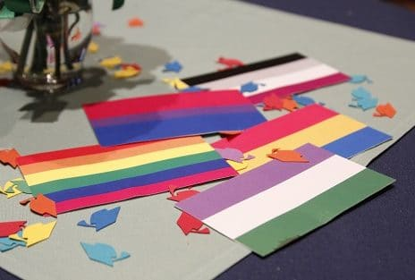 small colorful flags on table