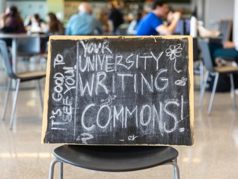 "sign reading ""your university writing commons! its good to see you"""