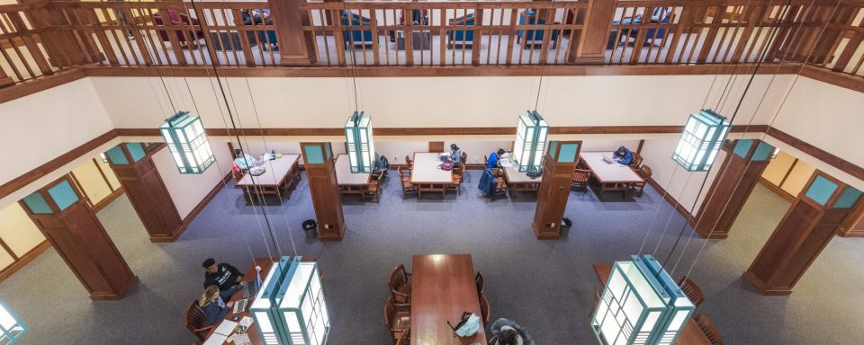 panoramic view of students working in cline library