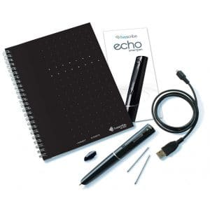 Picture of a smart pen with usb cable, notebook and extra ink
