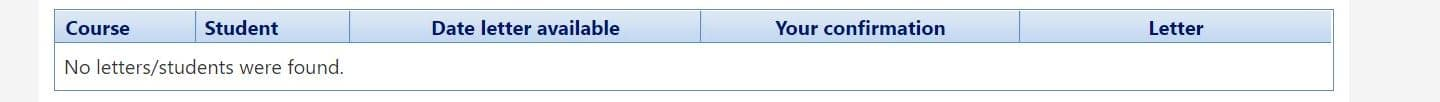 screen shot of accommodation letter viewing option