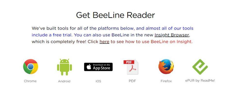 Screen shot of Get BeeLine Reader from website