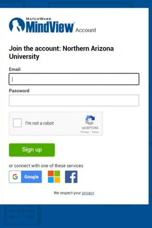 Screen shot of NAU sign up page, requesting NAU email and a password creation