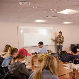 student lecturing