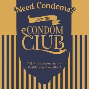"Blue and Gold condom with the words ""Need Cond"