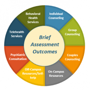 Wheel showing options of group counseling, individual counseling, couples counseling, on campus resources, psychiatric services, Telehealth services and behavioral health services.