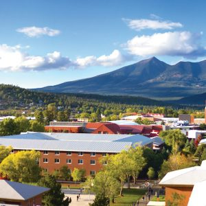 NAU campus with mountains in background
