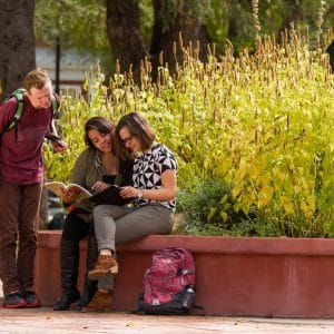 Students reading together outside on campus
