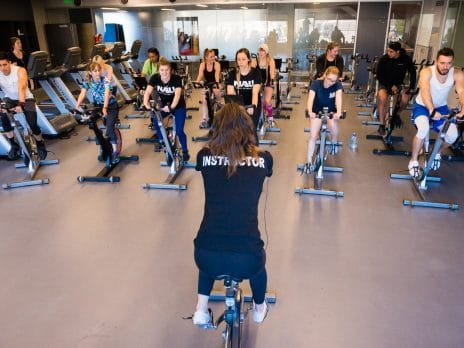 cycling instructor teach class