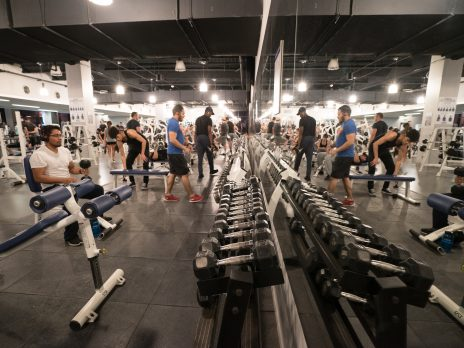 Rec Center Weight room males lifting