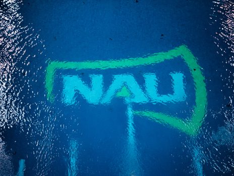 dive well looking down at nau logo