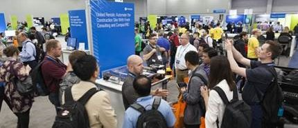 United Rental booth at busy career fair