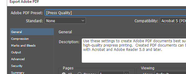Press quality PDF in InDesign