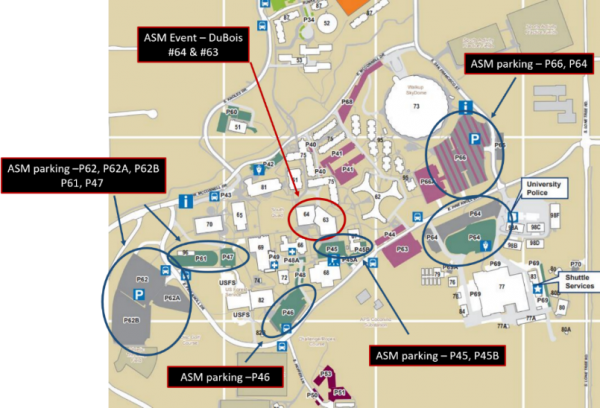 Event location and parking map for Regional ASM Conference