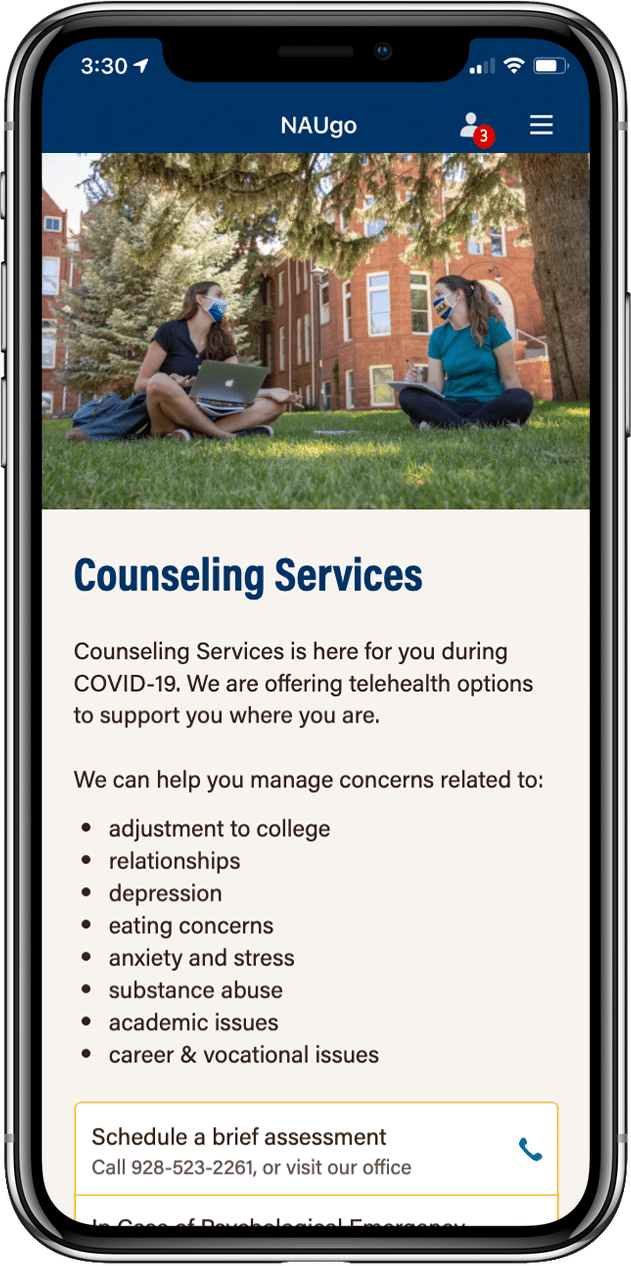 NAUgo Counseling Services screen