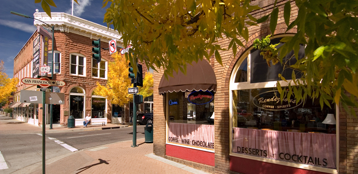 Fall colors at the corner of San Francisco & Aspen in downtown Flagstaff