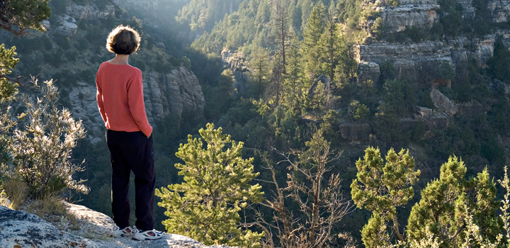 Hiker overlooking Walnut Canyon